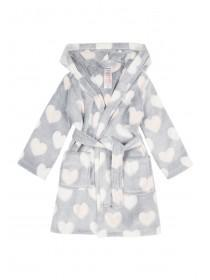 Girls Grey Heart Dressing Gown