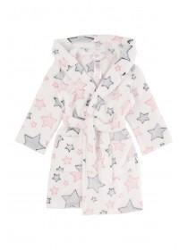 Girls White Star Dressing Gown