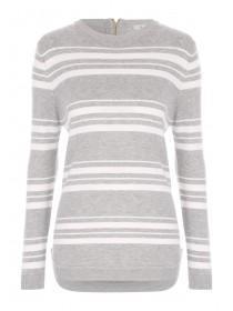 Womens Grey Stripe Jumper