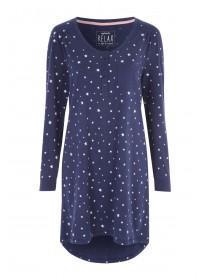Womens Dark Blue Long Sleeve Nightdress