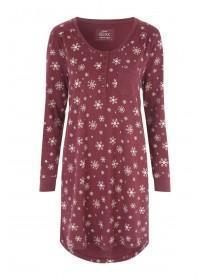 Womens Red Snowflake Long Sleeve Nightdress