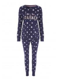 Womens Dark Blue Star Pyjama Set