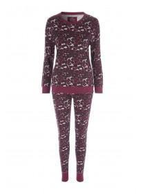 Womens Purple Leopard Print Pyjama Set