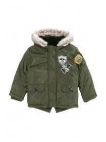 Younger Boys Khaki Badge Parka Coat