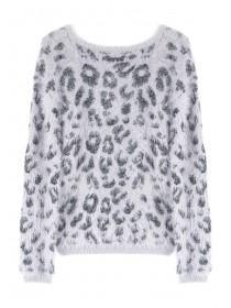 Older Girls Grey Leopard Print Jumper
