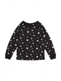 Girls Soft Touch Black Pyjama Top