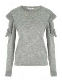 Womens Khaki Frill Sleeve Jumper