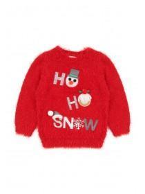 Younger Girls Red Ho Ho Snow Jumper