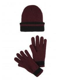 Mens Burgundy Thinsulate Hat and Glove Set