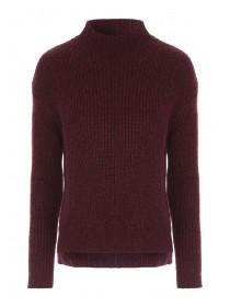 Womens Cherry Red Funnel Neck Rib Jumper
