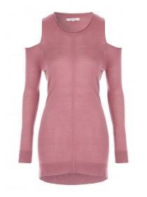 Womens Pink Cold Shoulder Jumper