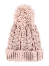 Womens Pink Cable Knit Beanie