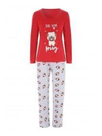 Womens Red Pug Pyjama Gift Set
