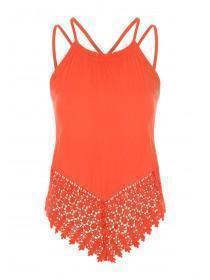 Jane Norman Orange Strappy Crochet Detail Top