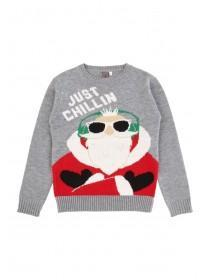 Older Boys Grey Chillin' Santa Jumper