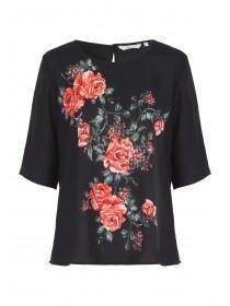 Womens Black Rose Printed Top