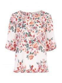 Womens Cream Printed Placement Top