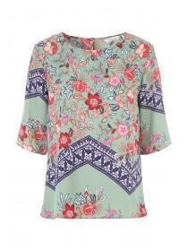 Womens Khaki Printed Placement Top