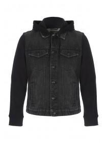 Mens Black Denim Hybrid Jacket