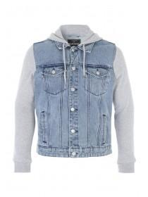 Mens Blue Denim Hybrid Jacket