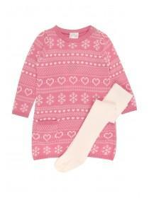 Baby Girls Pink Dress And Tights Set