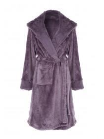 Womens Purple Fur Hood Dressing Gown
