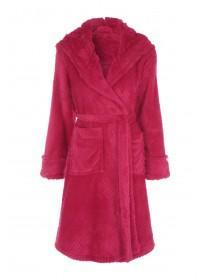 Womens Red Fur Hood Dressing Gown