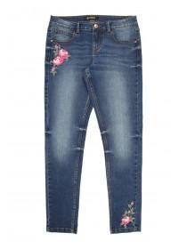 Older Girls Blue Embroidered Jeans
