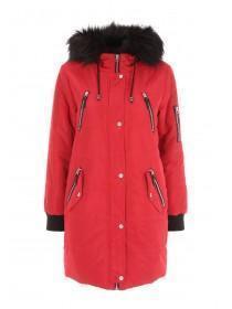 Womens Red Long Line Coat