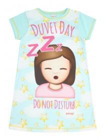 Older Girls Light Blue Emoji Nightdress