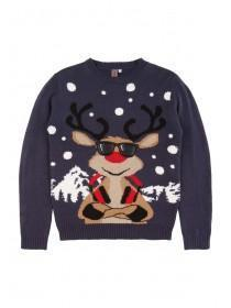 Older Boys Blue Cool Reindeer Jumper