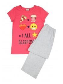 Older Girls Pink Emoji Pyjama Set