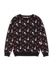 Older Boys Black Christmas Jumper