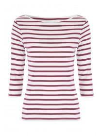 Womens Berry Stripe Envelope Neck Top