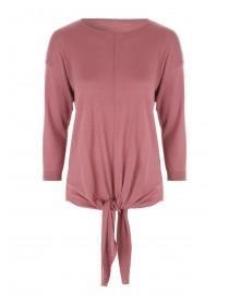 Womens Pink Tie Front Jumper