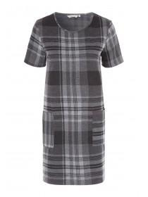 Womens Grey Check Shift Dress