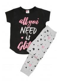 Girls Black Slogan Pyjama Set
