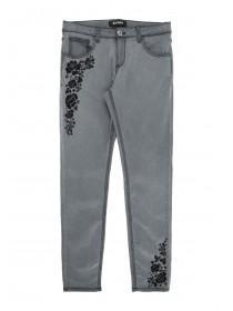 Older Girls Grey Floral Embroidered Jeans