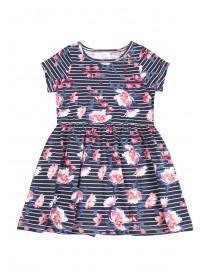 Younger Girls Dark Blue Short Sleeve Jersey Dress