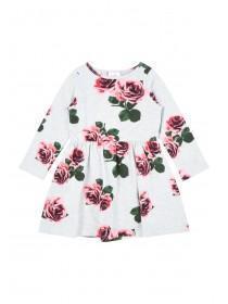 Younger Girls Grey Rose Dress