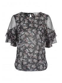 Womens Floral Mesh Top