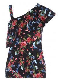 Womens Black Floral One Shoulder Frill Vest