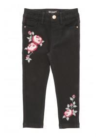 Younger Girls Embroidered Black Jeans