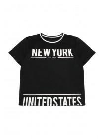 Older Girls Black Mesh Insert NYC T-Shirt