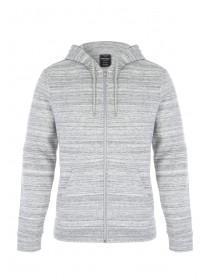 Mens Grey Space Dye Zip Through Hooded Sweater