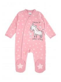 Baby Girls Fleece Unicorn Sleepsuit