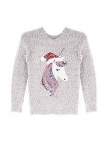 Older Girls Grey Unicorn Christmas Jumper