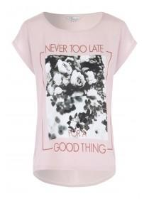 Womens Pink Woven Front Printed T-Shirt