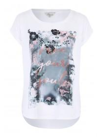 Womens White Floral Woven Front Printed T-Shirt