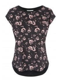 Womens Black Woven Front T-Shirt